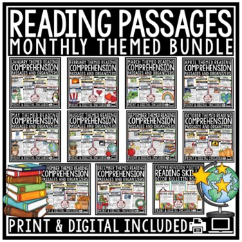 Reading Comprehension Passages and Questions 4th Grade, 3rd Grade, & 5th Bundle