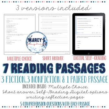 Reading Comprehension Passages 4th and 5th grade Summer Practice worksheets