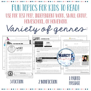 Reading comprehension Passages and questions multiple choice for 4th, 5th grade