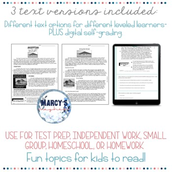 NONFICTION Reading Comprehension Passages 3rd grade, 4th & 5th grade Test prep