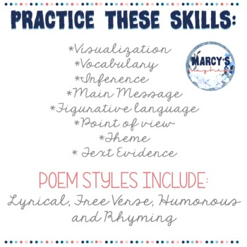 Reading Comprehension : Poetry Passages for 4th & 5th grade