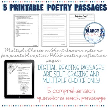 Poetry Comprehension Activities: Reading Passages 4th grade & 5th grade