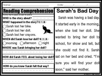 Reading Comprehension Passages 5 W's 1st Grade