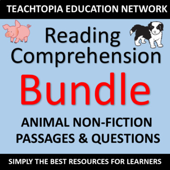 Reading Comprehension Passages Animal Themed for Primary Grades Non-fiction