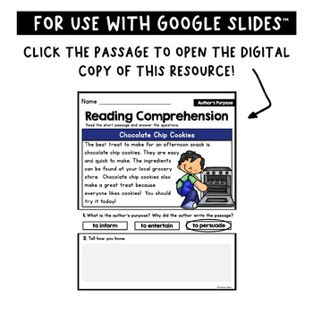 Reading Comprehension Passages - Author's Purpose [Little Readers]