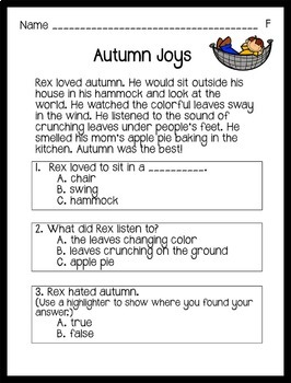 Reading Comprehension Passages Autumn Themed: Guided Reading Level F