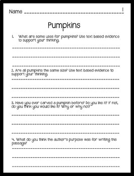 Reading Comprehension Passages Autumn Themed: Guided Reading Level I