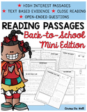 Text Evidence Comprehension Passages {Back-to-School}