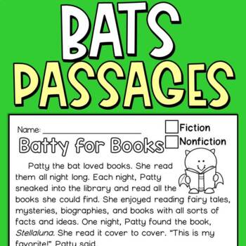 Reading Comprehension Passages: Bats (FREEBIE)
