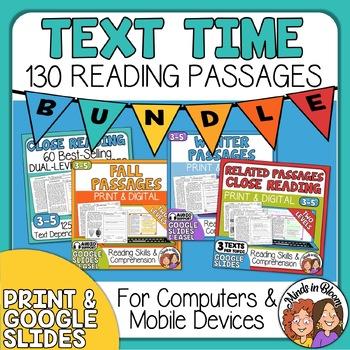 Reading Comprehension  Passages Bundle - 130 Close Reading Passages & Questions