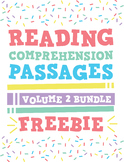 Reading Comprehension Passages Bundle: GR Levels C-I Vol 2 Sampler Freebie