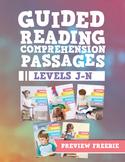Reading Comprehension Passages Bundle: Guided Reading Levels J-N Sampler Freebie