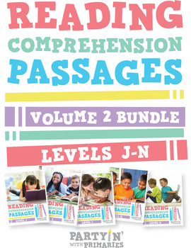 Reading Comprehension Passages Bundle: Guided Reading Levels J-N Volume 2
