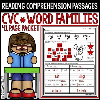 Reading Comprehension Passages-CVC Word Family Words