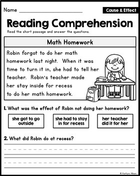 Reading Comprehension Passages - Cause and Effect [Little Readers]
