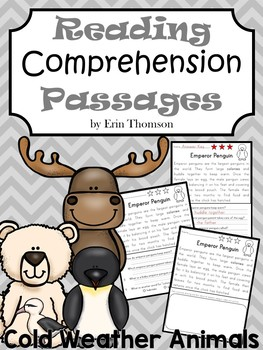 Reading Comprehension Passages and Questions ~ Cold Weather Animals {Nonfiction}