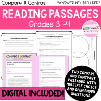 Reading Comprehension Passages - Compare and Contrast - DIGITAL INCLUDED!