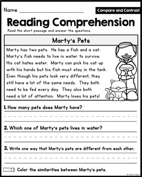 Reading Comprehension Passages - Compare and Contrast [Little Readers]