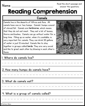 Reading Comprehension Passages - Desert Animals