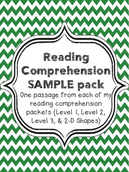 Reading Comprehension Passages - FREE Sample