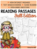 2nd Grade Comprehension | Fall Reading Passages |Text-Based Evidence Reading