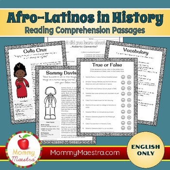 Reading Comprehension Passages: Famous Afro-Latinos (vol 1)