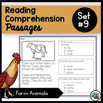 Reading Comprehension Passages - Farm Animal Set