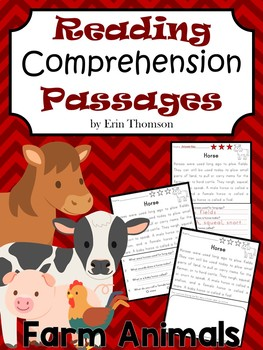 Reading Comprehension Passages and Questions ~ Farm Animals {Nonfiction}