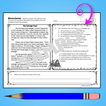 Reading Comprehension Passages Fiction 4th Grade