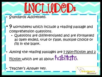 Reading Comprehension Passages (Fiction & Non-Fiction about Habitats)