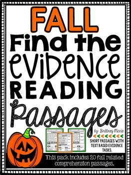Fall Reading Comprehension Passages - Find the Evidence