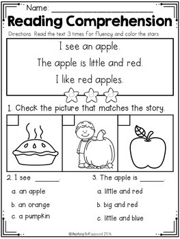Kindergarten Reading Comprehension (FALL EDITION)