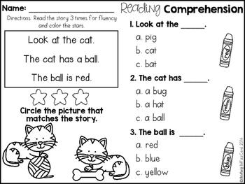 Kindergarten Reading Comprehension for Beginning Readers ...