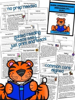 Reading Comprehension Passages: Guided Reading Level J Volume 2