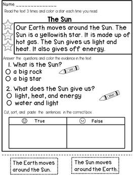 Reading Comprehension Passages (1st Grade)