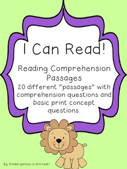 Reading Comprehension Passages - Level 1