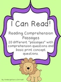 Reading Comprehension Passages - Level 1