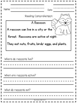 Reading Comprehension Passages:  Life in the Forest (Kindergarten and 1st Grade)
