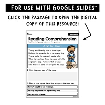 Reading Comprehension Passages - Main Idea [Little Readers]
