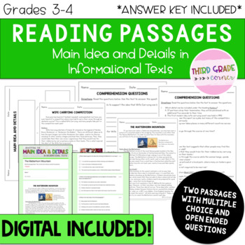 Reading Comprehension Passages - Main Idea and Details in Informational Texts!