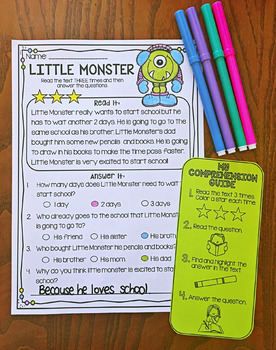 Reading Comprehension Passages - First Second Grade