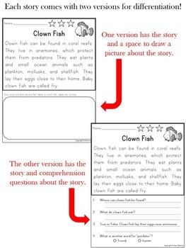 Reading Comprehension Passages ~ Ocean Animals {Nonfiction}