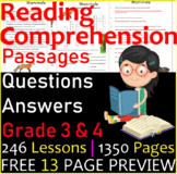 Reading Comprehension Passages & Questions   2 MEGA Bundles   Grade 3 & 4