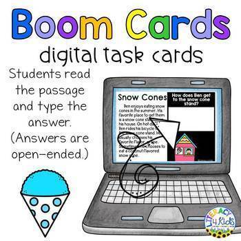 Reading Comprehension Passages & Questions Boom Cards (Digital Task Cards)