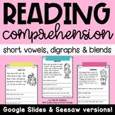 Reading Comprehension Passages (CVC, Digraphs, Blends) Printable & Digital