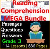 Reading Comprehension Passages & Questions | MEGA Bundle | Grade 3