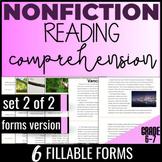 Reading Comprehension Passages & Questions {Nonfiction Set2/2} Test Prep (FORMS)