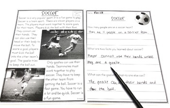 Reading Comprehension Passages & Questions Second Grade I am Reading #5