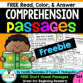 Reading Comprehension Passages - Read, Color & Answer {Set 1} ~3 Page FREEBIE~