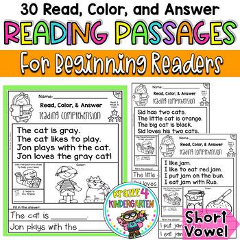 Reading Comprehension Passages - Read, Color & Answer {Set 1- Short Vowels}